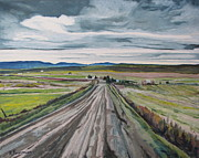 Gravel Road Paintings - The Gravel Road LaPatrie Quebec Canada by Francois Fournier