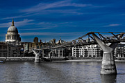 Catherdral Framed Prints - The Millennium Bridge Framed Print by David Pyatt