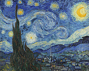 Tree Painting Posters - The Starry Night Poster by Vincent Van Gogh