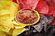 Ethnic Prints - Tortilla chips and salsa Print by Elena Elisseeva