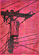 Block Print Drawings - Transformer by William Cauthern