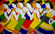 Contemporary Tribal Art Paintings - Tribal Dance by Jiaur Rahman