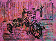 Linocut Linoluem Framed Prints - Tricycle Framed Print by William Cauthern