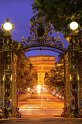 Lighted Street Posters - Twilight at Arc de Triomphe Poster by Brian Jannsen