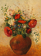 Vase Paintings - Vase of Flowers by Odilon Redon