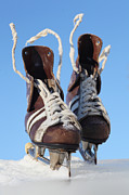 Antique Skates Prints - Vintage Pair Of Mens  Skates  Print by Mikhail Olykaynen