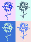 Gordon Punt Prints - 4 Warhol Roses by Punt Print by Gordon Punt