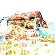 Log Cabin Mixed Media - Watercolor Cabin by Lisa Noneman