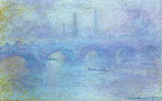 Barges Posters - Waterloo Bridge Poster by Claude Monet