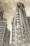 London England  Digital Art - Willis Group and Lloyds of London Art by David Pyatt