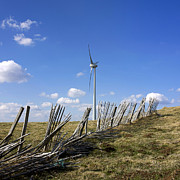 Picket Fence Posters - Wind turbine Poster by Bernard Jaubert