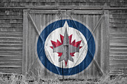 Puck Prints - Winnipeg Jets Print by Joe Hamilton