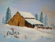 Serenity Scenes Paintings - Winter  Rest  by Shasta Eone