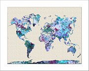 Watercolor Map Paintings - World Map Watercolor Map of the World by WaterColorMaps Chris and Mary Ann