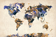 Urban Art Digital Art Framed Prints - World Map Watercolor Framed Print by Michael Tompsett