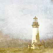 Lighthouses Digital Art Prints - Yaquina Head Light Print by Carol Leigh