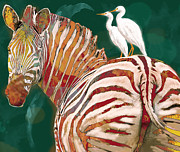 Zebra Mixed Media - Zebra - stylised drawing art poster by Kim Wang