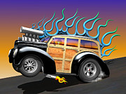 Custom Automobile Digital Art - 40 Ford Woody by Stuart Swartz
