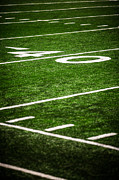 Marker Prints - 40 Yard Line on a Football Field Print by Paul Velgos