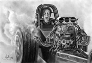 Hotrod Drawings Posters - 4000 HP drawing Poster by John Harding