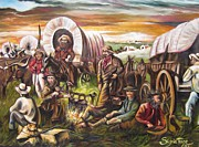 American Cowboy Artist Framed Prints - 415 Pilgrims on the Plains Framed Print by Sigrid Tune