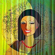 Woman With Black Hair Art - 416 - Lady with nice teeth by Irmgard Schoendorf Welch