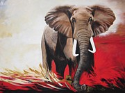 Elephant Painting Acrylic Prints - 417 Elephant called Constitution Acrylic Print by Sigrid Tune