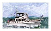 Yachting Posters - 42 Foot Grand Banks Motoryacht Poster by Jack Pumphrey