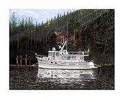 Yacht Paintings - 42 Foot Nordic Yacht Tug by Jack Pumphrey