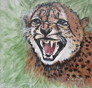 Growling Painting Prints - 420 Growling Baby Cheetah Print by Sigrid Tune