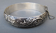 Engraved Jewelry - 422 Graffiti Cuff Bracelet by Brenda Berdnik