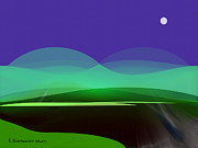Moonlit Digital Art Prints - 425 - In the calm of  night Print by Irmgard Schoendorf Welch