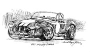 Popular Drawings Posters - 427 Shelby Cobra Poster by David Lloyd Glover