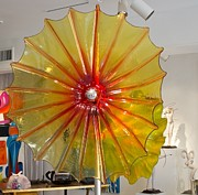 Steel Glass Art - 42in Yellow/Orange Museum Flower by David Hines