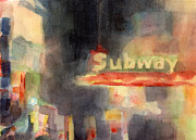 Night Scenes Paintings - 42nd Street Subway Watercolor Painting of NYC by Beverly Brown Prints