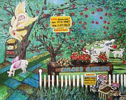 Chipmunks Paintings - 446 Chloes Organic Garden by Sigrid Tune