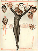 Heads Drawings Framed Prints - 1920s France La Vie Parisienne Magazine Framed Print by The Advertising Archives