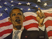 Barack Obama Painting Framed Prints - 44th President of Change  Framed Print by Jamie Preston