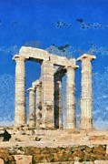 Paint Art - Poseidon temple by George Atsametakis