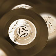 Sepia Tone Digital Art - 45 RPM Records by Mike McGlothlen