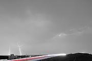 47 Street Lightning Storm Light Trails View Bwsc Print by James BO  Insogna