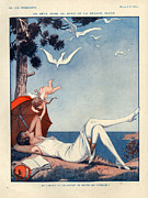 Magazine Cover Drawings Prints - 1920s France La Vie Parisienne Magazine Print by The Advertising Archives