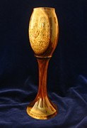 Food And Beverage Sculptures - 477 Handcrafted Wooden Goblet Chalice or Goblet Simple Elegance by Jack Lewis