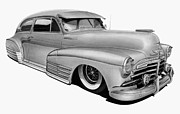 Automobile Drawings Posters - 48 Chevy Fleetline Poster by Lyle Brown