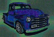 Chevy Trucks Posters - 48 Chevy Truck Blue Poster by Ernie Echols