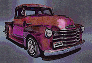 Old Chevy Truck Prints - 48 Chevy Truck pink Print by Ernie Echols