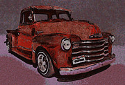 Chevy Trucks Posters - 48 Chevy Truck Red Poster by Ernie Echols