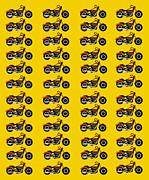 48 Harlies On Dark Yellow Print by Asbjorn Lonvig