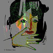 Green Eyes Digital Art - 486 - Green Eye  Woman by Irmgard Schoendorf Welch