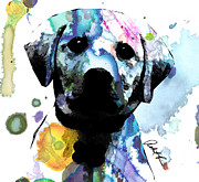 Doggy Drawings Framed Prints - 48x44 Labrador Puppy Dog - Huge Signed Art Abstract Paintings Modern www.splashyartist.com Framed Print by Robert R Abstract Art